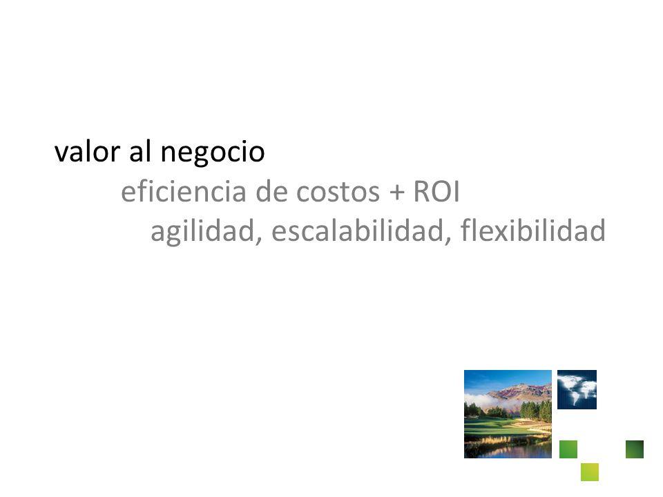 valor al negocio eficiencia de costos + ROI agilidad, escalabilidad, flexibilidad