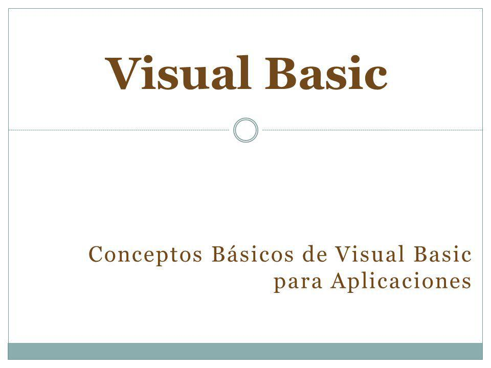 Conceptos Básicos de Visual Basic para Aplicaciones Visual Basic