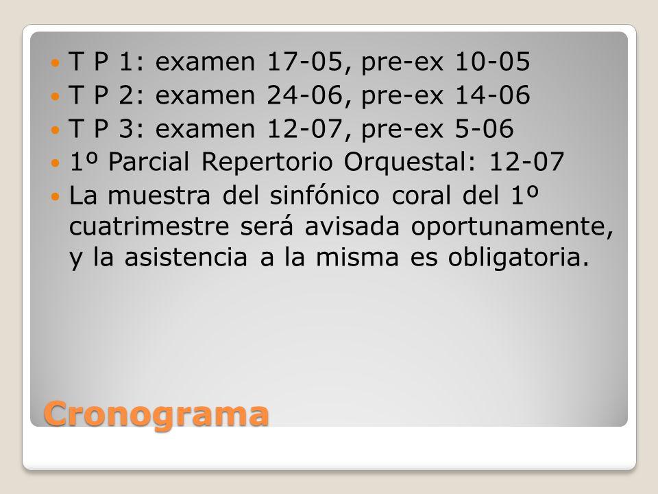 Cronograma T P 1: examen 17-05, pre-ex 10-05 T P 2: examen 24-06, pre-ex 14-06 T P 3: examen 12-07, pre-ex 5-06 1º Parcial Repertorio Orquestal: 12-07 La muestra del sinfónico coral del 1º cuatrimestre será avisada oportunamente, y la asistencia a la misma es obligatoria.