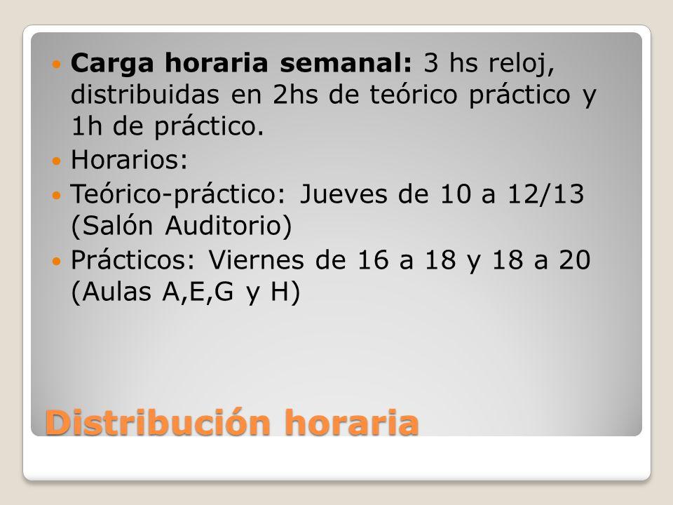 Distribución horaria Carga horaria semanal: 3 hs reloj, distribuidas en 2hs de teórico práctico y 1h de práctico.