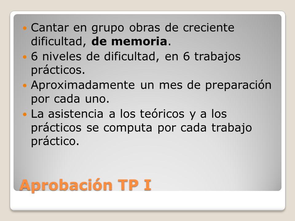 Aprobación TP I Cantar en grupo obras de creciente dificultad, de memoria.