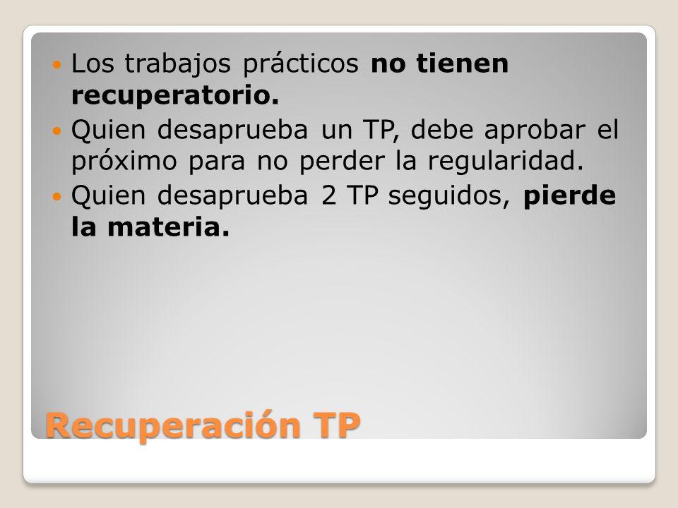 Recuperación TP Los trabajos prácticos no tienen recuperatorio.