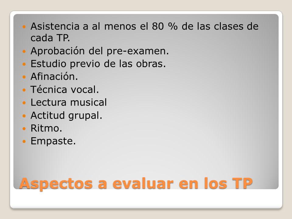 Aspectos a evaluar en los TP Asistencia a al menos el 80 % de las clases de cada TP.