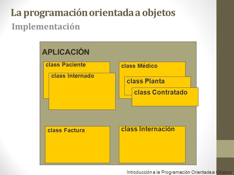 APLICACIÓN class Paciente class Médico class Factura class Internación Introducción a la Programación Orientada a Objetos class Internado class Planta