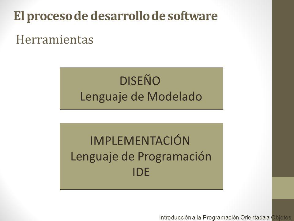 Herramientas Introducción a la Programación Orientada a Objetos DISEÑO Lenguaje de Modelado IMPLEMENTACIÓN Lenguaje de Programación IDE El proceso de