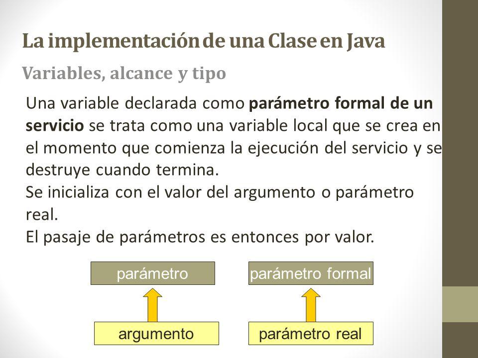 Una variable declarada como parámetro formal de un servicio se trata como una variable local que se crea en el momento que comienza la ejecución del s