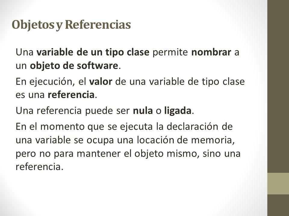 Una variable de un tipo clase permite nombrar a un objeto de software. En ejecución, el valor de una variable de tipo clase es una referencia. Una ref