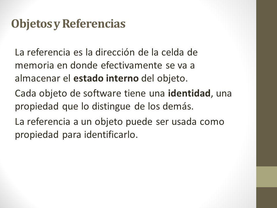 La referencia es la dirección de la celda de memoria en donde efectivamente se va a almacenar el estado interno del objeto. Cada objeto de software ti