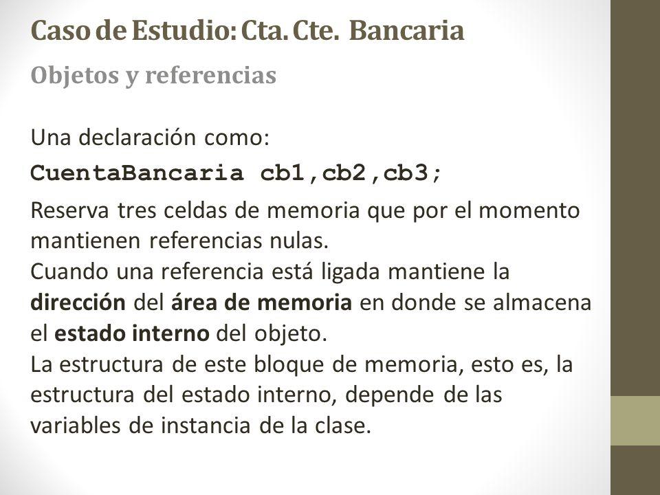 Una declaración como: CuentaBancaria cb1,cb2,cb3; Reserva tres celdas de memoria que por el momento mantienen referencias nulas. Cuando una referencia