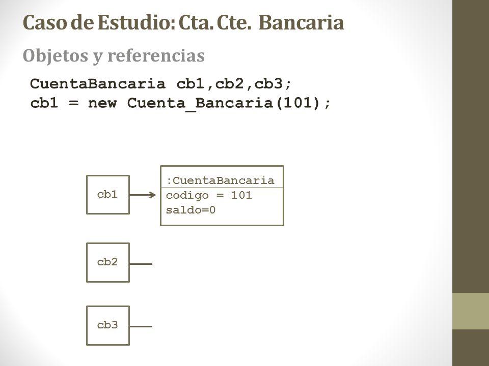 cb1 CuentaBancaria cb1,cb2,cb3; cb1 = new Cuenta_Bancaria(101); :CuentaBancaria codigo = 101 saldo=0 cb2 cb3 Objetos y referencias Caso de Estudio: Ct
