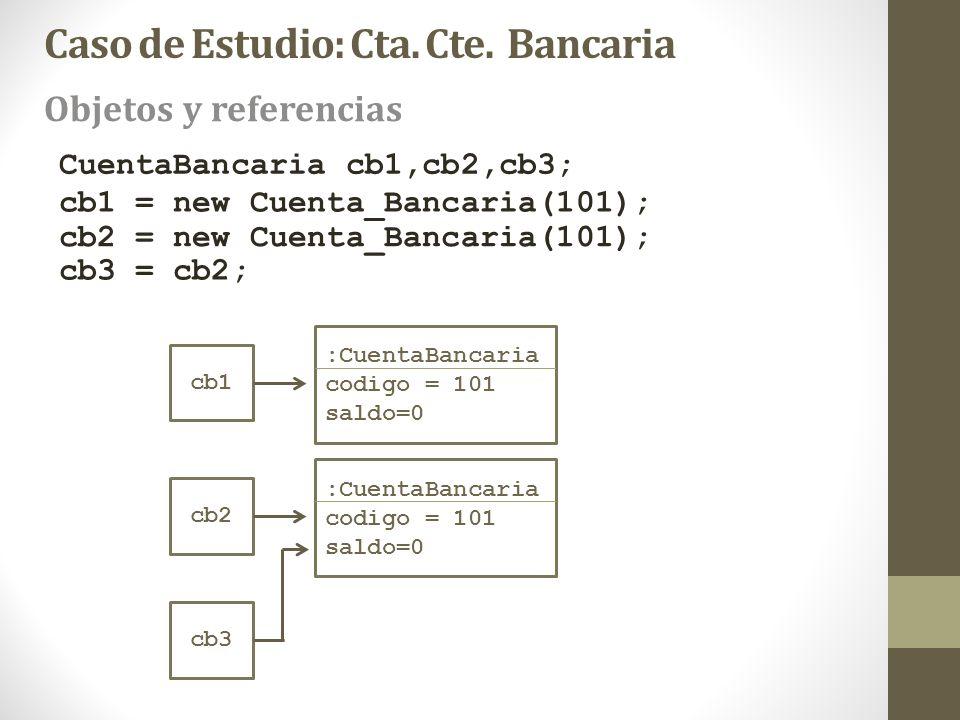 cb1 CuentaBancaria cb1,cb2,cb3; cb1 = new Cuenta_Bancaria(101); :CuentaBancaria codigo = 101 saldo=0 cb2 :CuentaBancaria codigo = 101 saldo=0 cb3 cb2