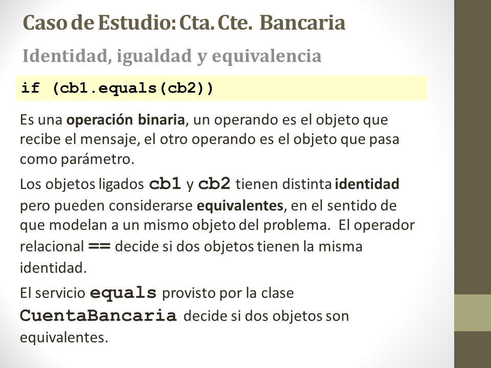 if (cb1.equals(cb2)) Es una operación binaria, un operando es el objeto que recibe el mensaje, el otro operando es el objeto que pasa como parámetro.