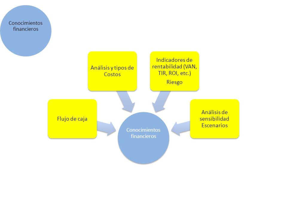 Conocimientos financieros Flujo de caja Análisis y tipos de Costos Indicadores de rentabilidad (VAN, TIR, ROI, etc.) Riesgo Análisis de sensibilidad E