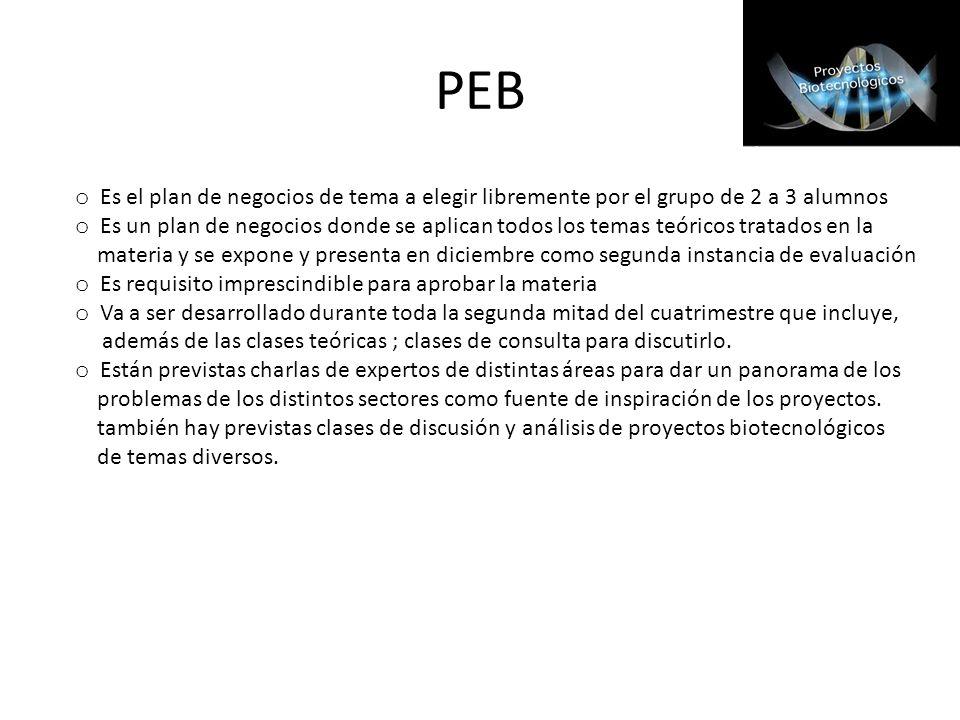 PEB o Es el plan de negocios de tema a elegir libremente por el grupo de 2 a 3 alumnos o Es un plan de negocios donde se aplican todos los temas teóri