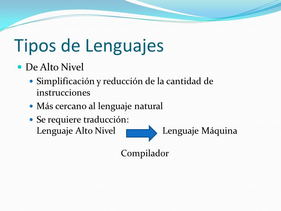 Tipos de Lenguajes De Alto Nivel Simplificación y reducción de la cantidad de instrucciones Más cercano al lenguaje natural Se requiere traducción: Le