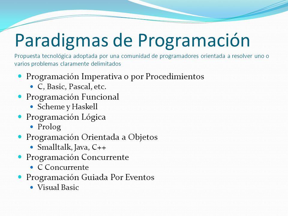 Paradigmas de Programación Propuesta tecnológica adoptada por una comunidad de programadores orientada a resolver uno o varios problemas claramente de