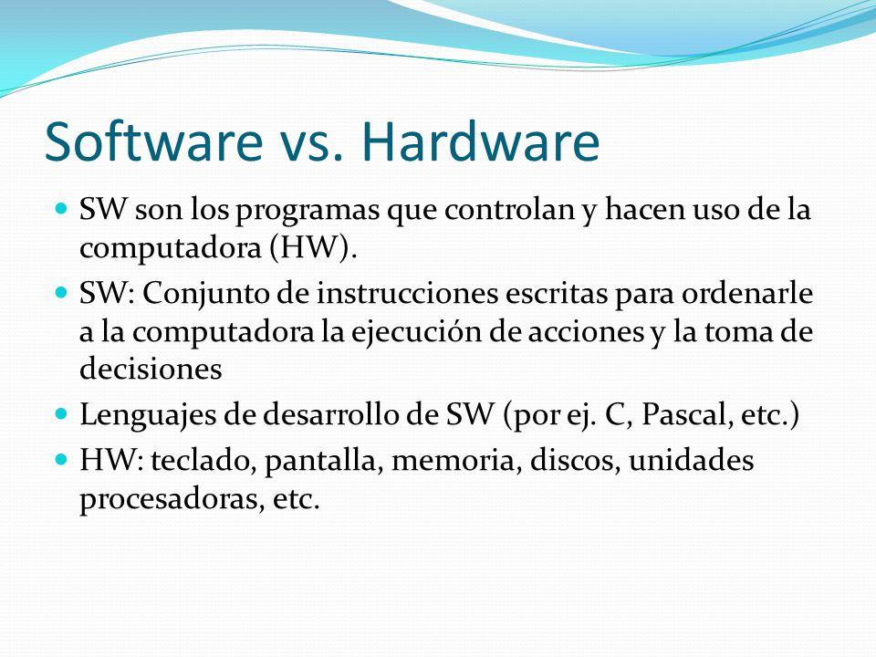 Software vs. Hardware SW son los programas que controlan y hacen uso de la computadora (HW). SW: Conjunto de instrucciones escritas para ordenarle a l