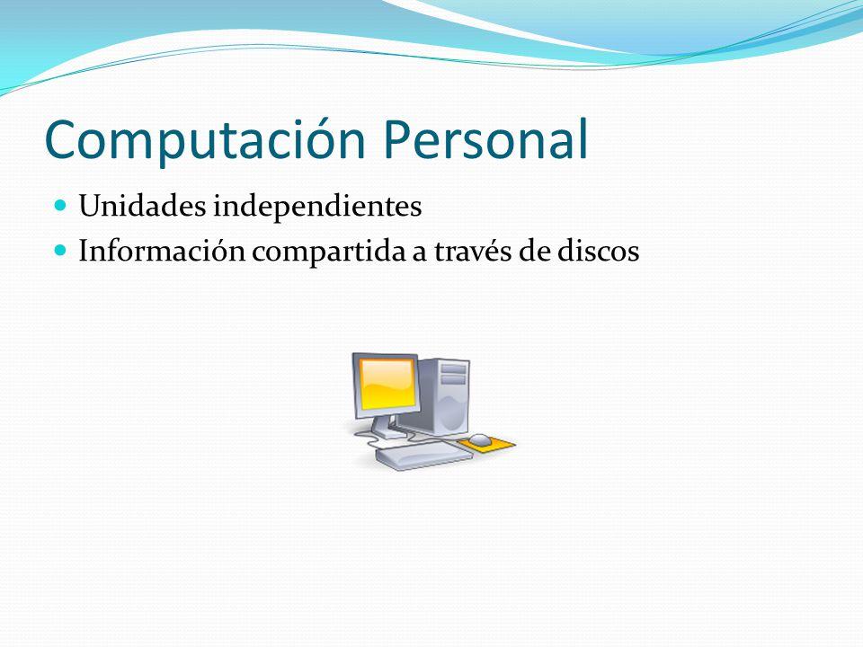 Computación Personal Unidades independientes Información compartida a través de discos