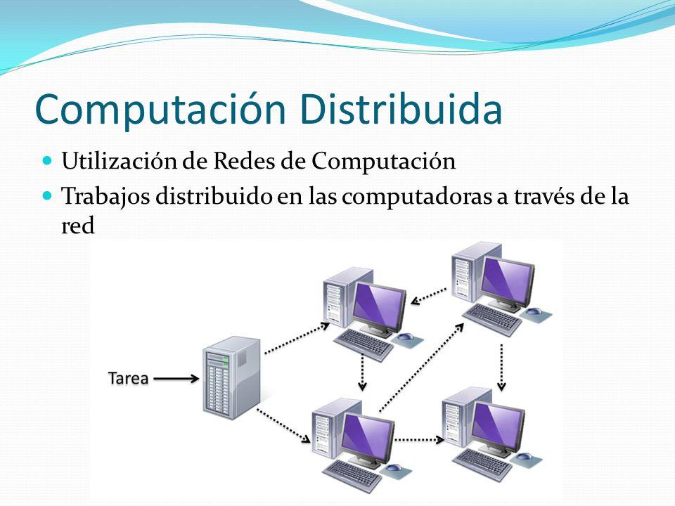Computación Distribuida Utilización de Redes de Computación Trabajos distribuido en las computadoras a través de la red