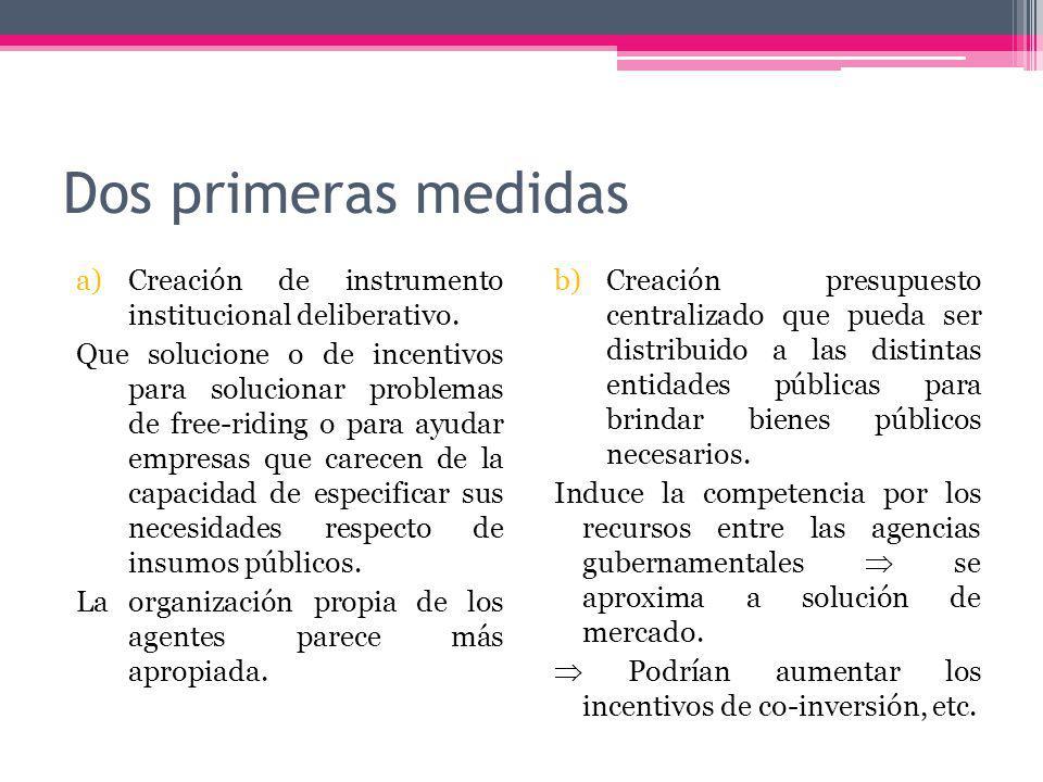 Dos primeras medidas a)Creación de instrumento institucional deliberativo.