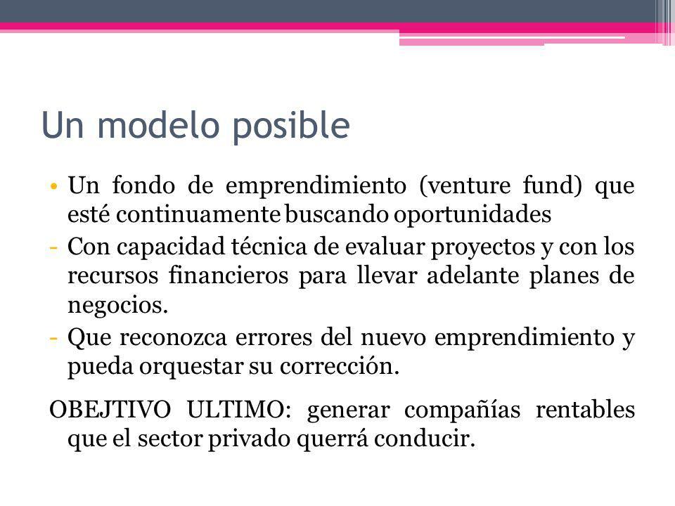 Un modelo posible Un fondo de emprendimiento (venture fund) que esté continuamente buscando oportunidades -Con capacidad técnica de evaluar proyectos y con los recursos financieros para llevar adelante planes de negocios.