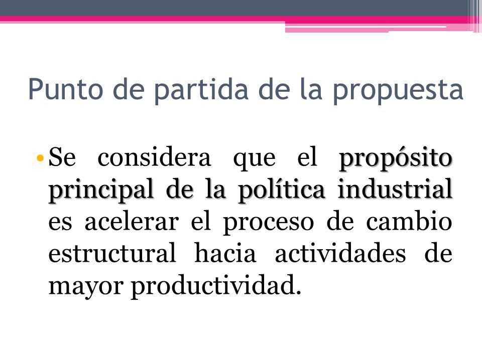 Punto de partida de la propuesta propósito principal de la política industrialSe considera que el propósito principal de la política industrial es acelerar el proceso de cambio estructural hacia actividades de mayor productividad.