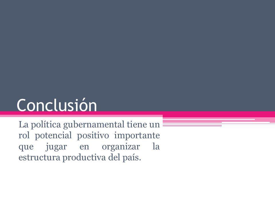 Conclusión La política gubernamental tiene un rol potencial positivo importante que jugar en organizar la estructura productiva del país.