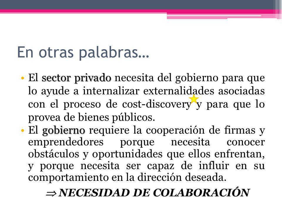 En otras palabras… sector privadoEl sector privado necesita del gobierno para que lo ayude a internalizar externalidades asociadas con el proceso de cost-discovery y para que lo provea de bienes públicos.