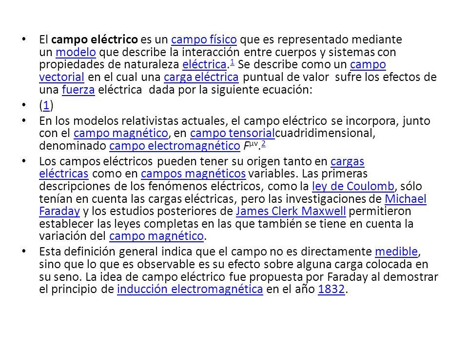 El campo eléctrico es un campo físico que es representado mediante un modelo que describe la interacción entre cuerpos y sistemas con propiedades de n