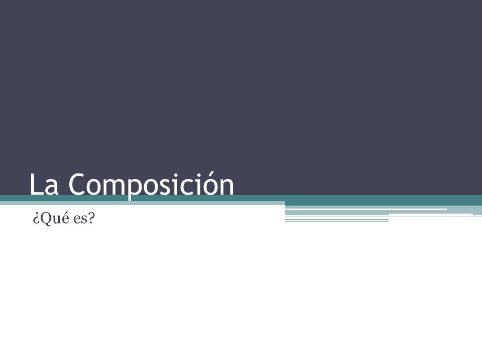 La composición consiste en distribuir de manera adecuada, todos y cada uno de las características que forman el diseño: Color y tonalidades Tamaños Texturas Espacios Formas en general (puntos, líneas, planos, tipografías, ilustraciones, tipografías)