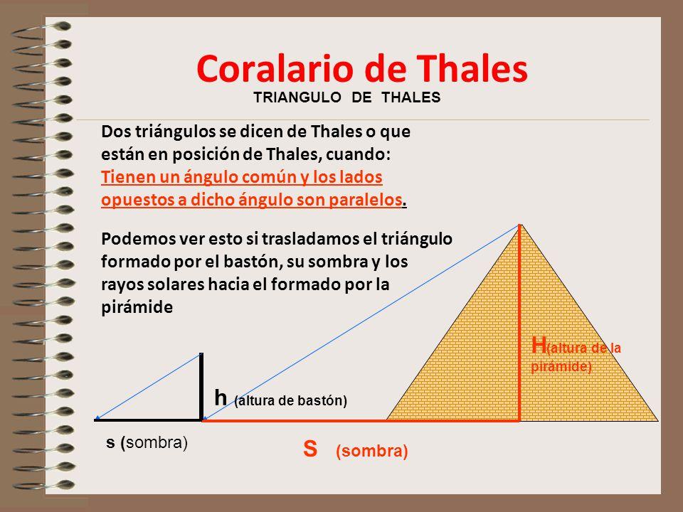 TRIANGULO DE THALES Dos triángulos se dicen de Thales o que están en posición de Thales, cuando: Tienen un ángulo común y los lados opuestos a dicho ángulo son paralelos.