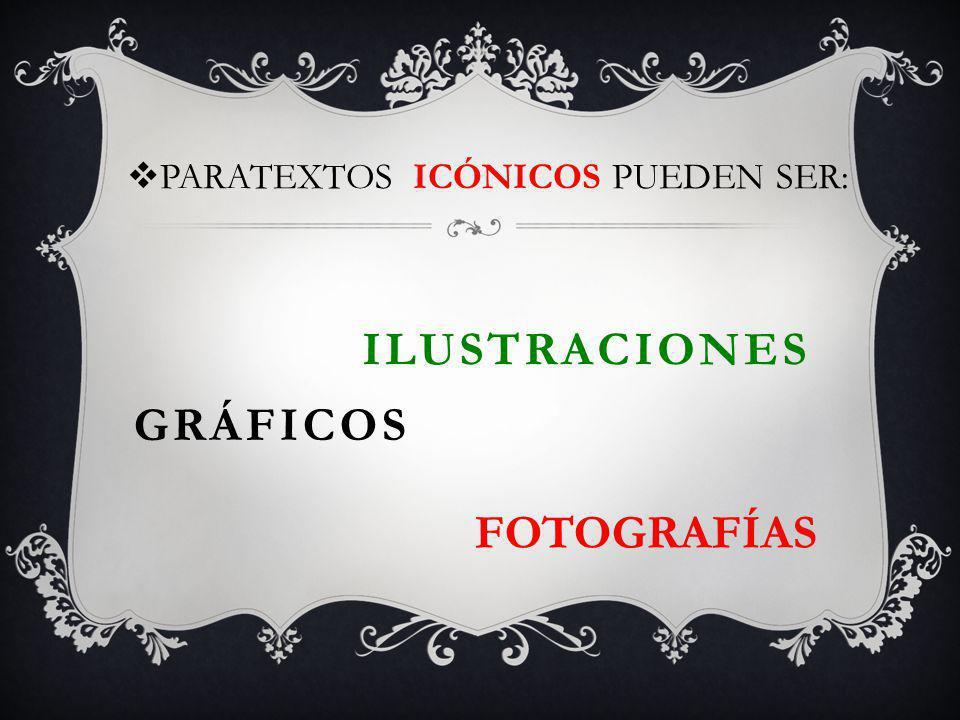 GRÁFICOS PARATEXTOS ICÓNICOS PUEDEN SER: FOTOGRAFÍAS ILUSTRACIONES