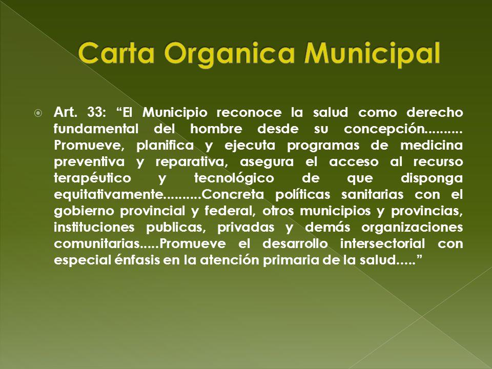 Art. 33 : El Municipio reconoce la salud como derecho fundamental del hombre desde su concepción.......... Promueve, planifica y ejecuta programas de