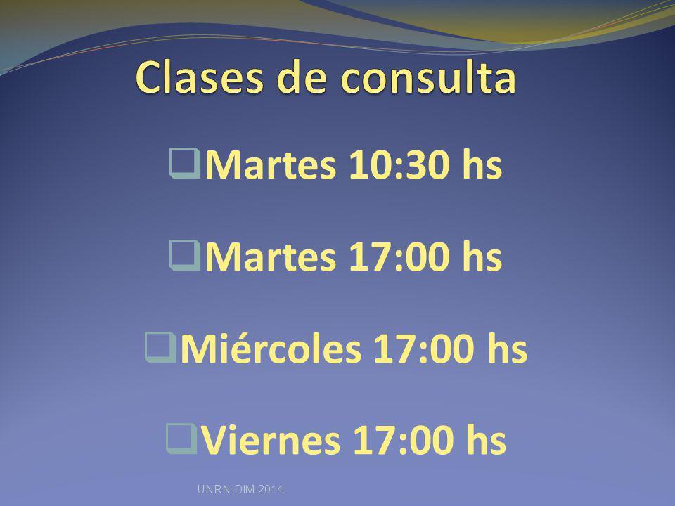 Martes 10:30 hs Martes 17:00 hs Miércoles 17:00 hs Viernes 17:00 hs UNRN-DIM-2014