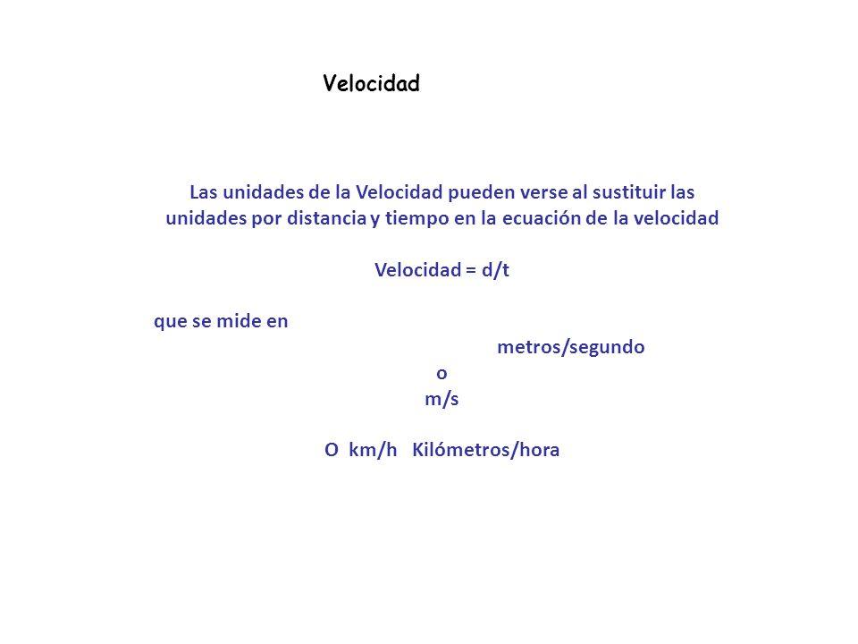Velocidad La Velocidad se define como la distancia recorrida, dividido por el tiempo que lleva recorrer esa distancia. Velocidad= V=d/t