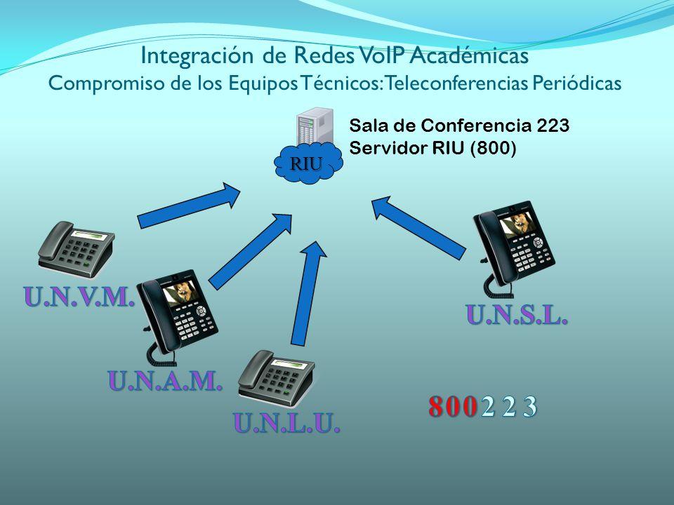 RIU Sala de Conferencia 223 Servidor RIU (800) Integración de Redes VoIP Académicas Compromiso de los Equipos Técnicos: Teleconferencias Periódicas