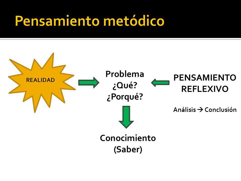 REALIDAD Problema ¿Qué? ¿Porqué? PENSAMIENTO REFLEXIVO Análisis Conclusión Conocimiento (Saber)