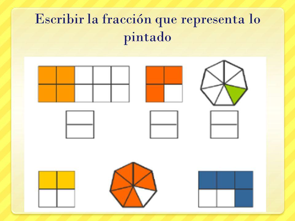 Escribir la fracción que representa lo pintado