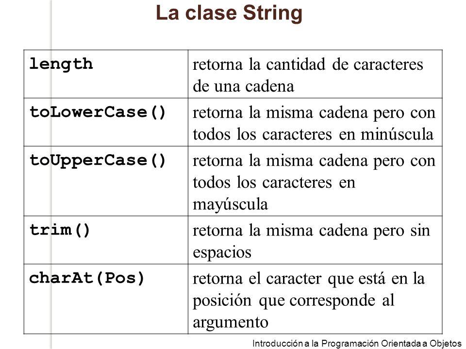 Introducción a la Programación Orientada a Objetos La clase String length retorna la cantidad de caracteres de una cadena toLowerCase() retorna la misma cadena pero con todos los caracteres en minúscula toUpperCase() retorna la misma cadena pero con todos los caracteres en mayúscula trim() retorna la misma cadena pero sin espacios charAt(Pos) retorna el caracter que está en la posición que corresponde al argumento