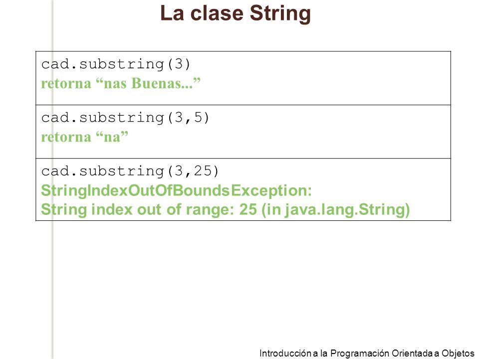 Introducción a la Programación Orientada a Objetos La clase String cad.substring(3) retorna nas Buenas...