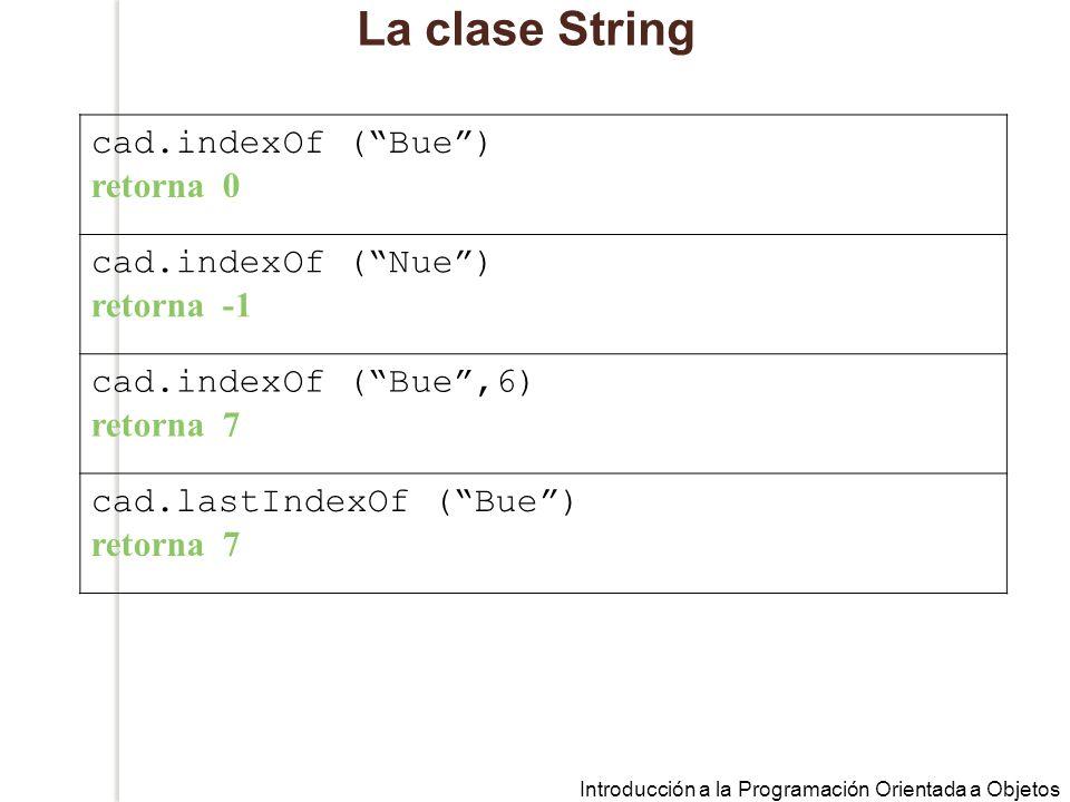 Introducción a la Programación Orientada a Objetos La clase String cad.indexOf (Bue) retorna 0 cad.indexOf (Nue) retorna -1 cad.indexOf (Bue,6) retorna 7 cad.lastIndexOf (Bue) retorna 7