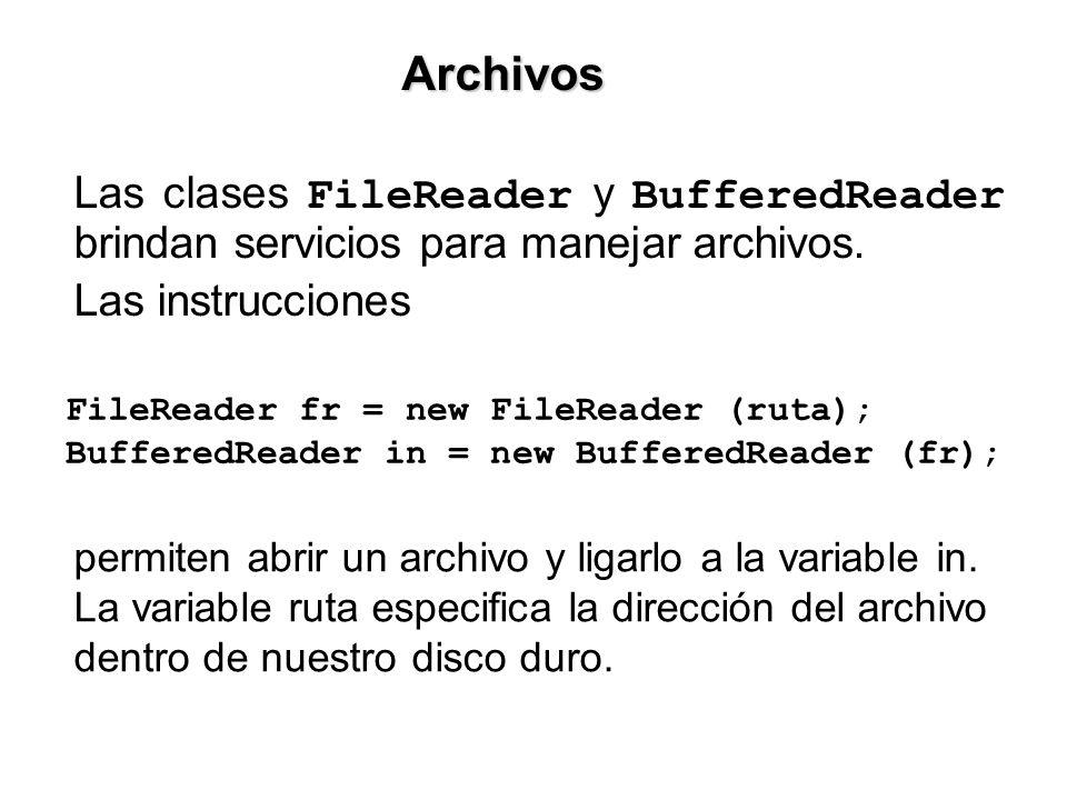 Las clases FileReader y BufferedReader brindan servicios para manejar archivos.