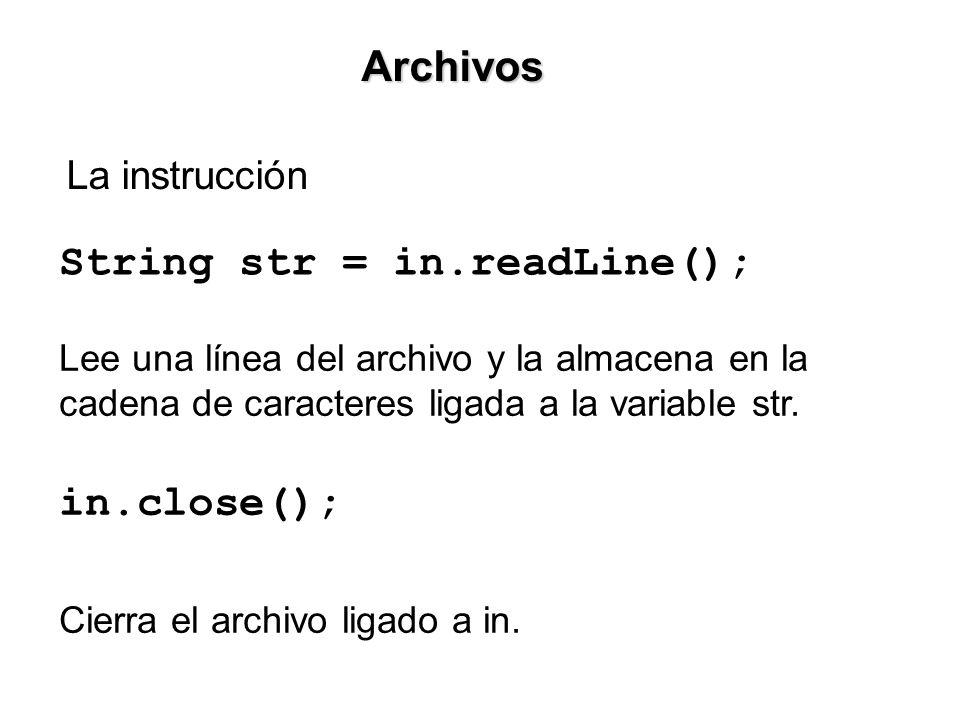 La instrucción Archivos String str = in.readLine(); Lee una línea del archivo y la almacena en la cadena de caracteres ligada a la variable str.