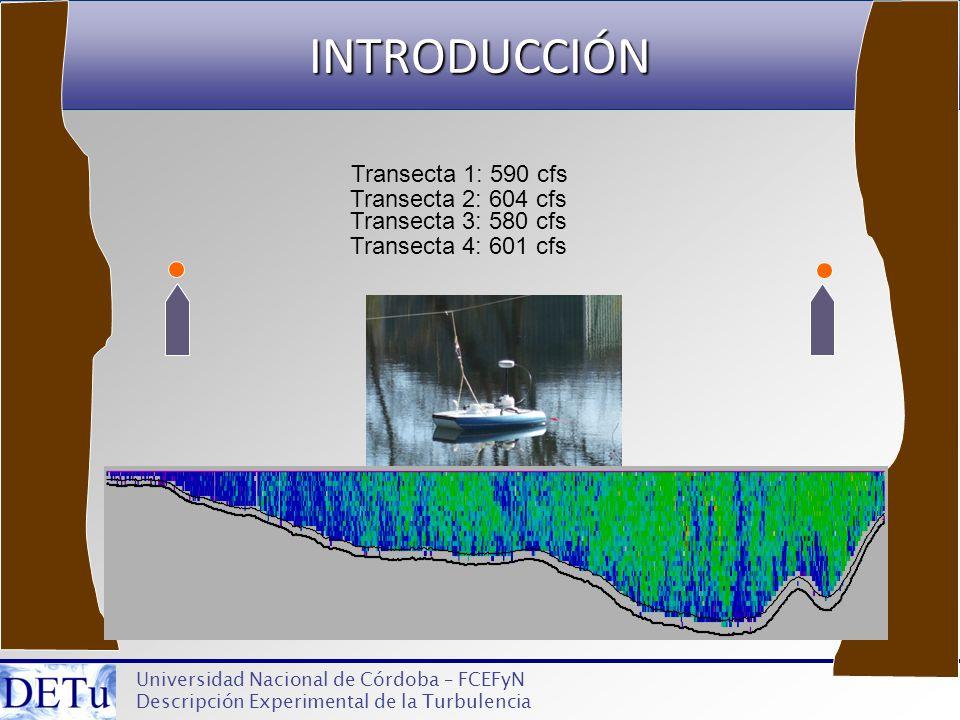 INTRODUCCIÓN Universidad Nacional de Córdoba – FCEFyN Descripción Experimental de la Turbulencia Transecta 1: 590 cfs Transecta 2: 604 cfs Transecta 3