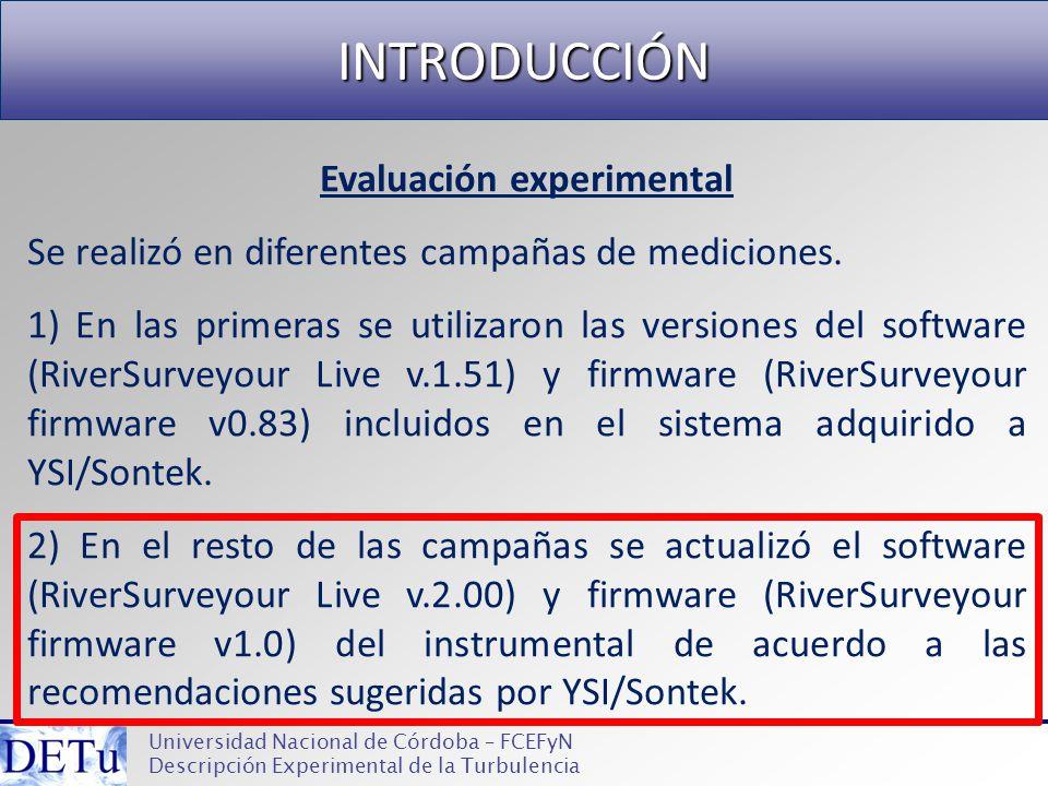 INTRODUCCIÓN Universidad Nacional de Córdoba – FCEFyN Descripción Experimental de la Turbulencia Evaluación experimental Se realizó en diferentes camp