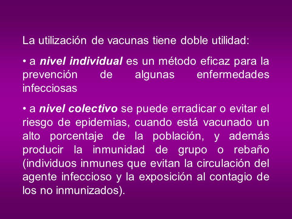 La utilización de vacunas tiene doble utilidad: a nivel individual es un método eficaz para la prevención de algunas enfermedades infecciosas a nivel