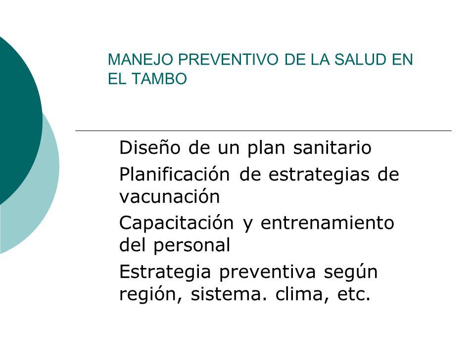 MANEJO PREVENTIVO DE LA SALUD EN EL TAMBO Diseño de un plan sanitario Planificación de estrategias de vacunación Capacitación y entrenamiento del pers