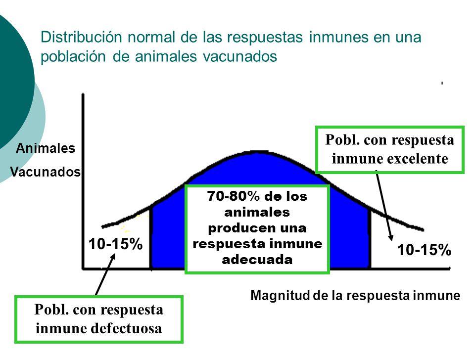 Distribución normal de las respuestas inmunes en una población de animales vacunados Animales Vacunados Magnitud de la respuesta inmune Pobl. con resp