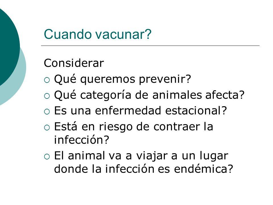 Cuando vacunar? Considerar Qué queremos prevenir? Qué categoría de animales afecta? Es una enfermedad estacional? Está en riesgo de contraer la infecc