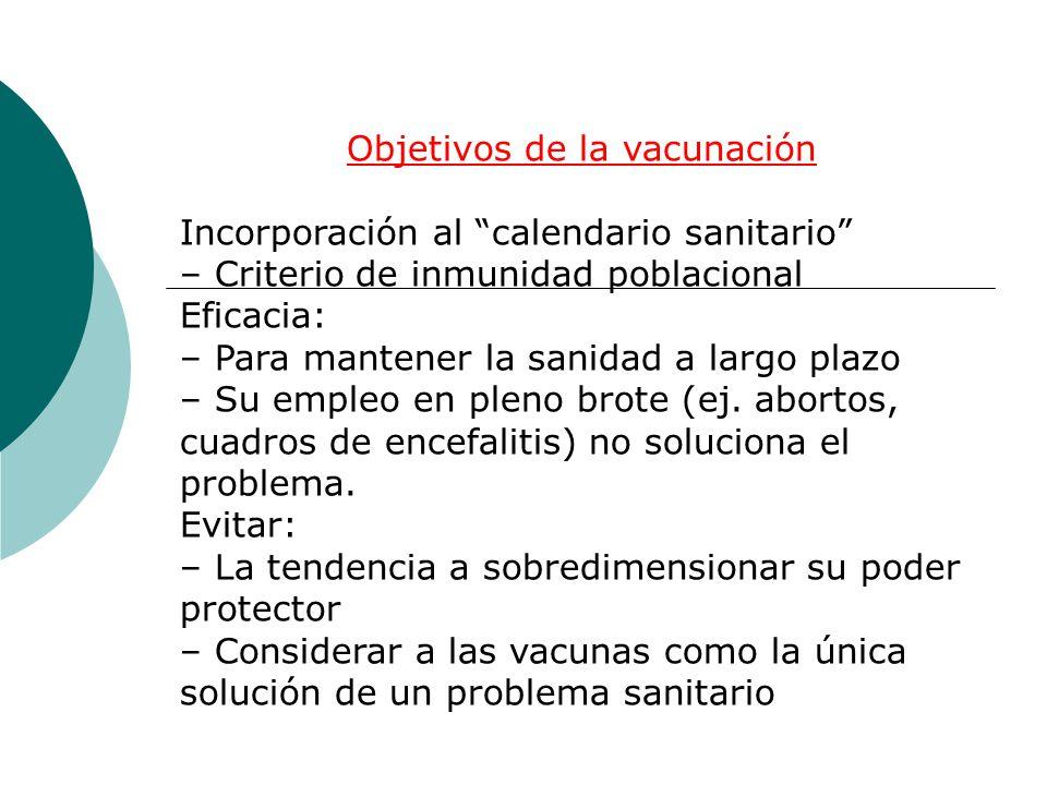 Objetivos de la vacunación Incorporación al calendario sanitario – Criterio de inmunidad poblacional Eficacia: – Para mantener la sanidad a largo plaz